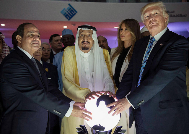 President Trump visits Saudi Arabia on May 21, 2017. It was his first foreign trip as president and the first time a US president visited Saudi Arabia as the first stop abroad.