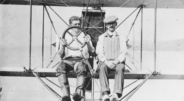 Glenn Curtiss and Theodor Ellyson at the controls of an A1