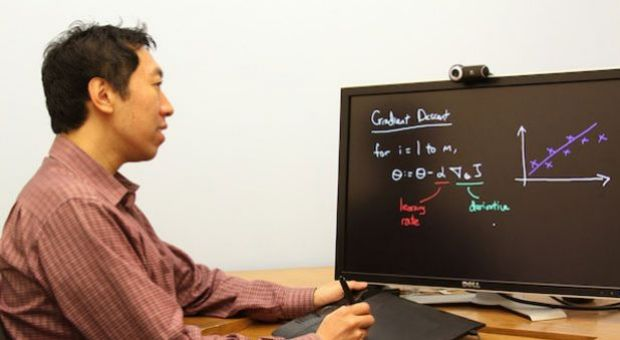 Stanford University computer Science professor Andrew Ng uses tablet-recording technology he developed to instantly display notes for his interactive video lecture.