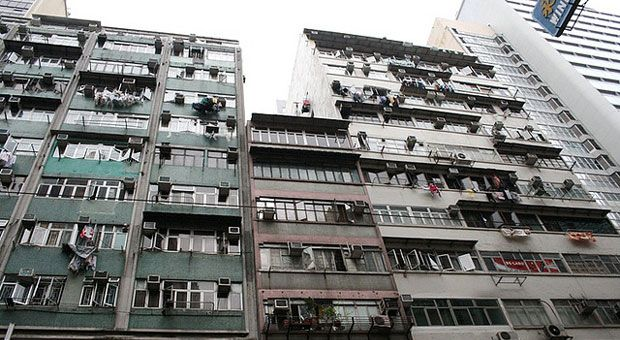 apartment air conditioning units in kwai tsing hong kong image used