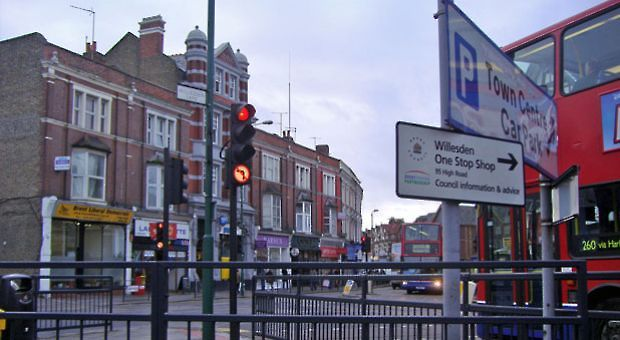 Willesden Green in northwest London, England.