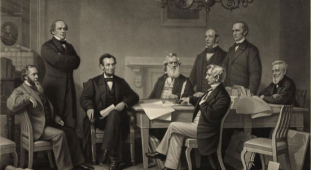 The first reading of the Emancipation Proclamation before President Abraham Lincoln's cabinet.