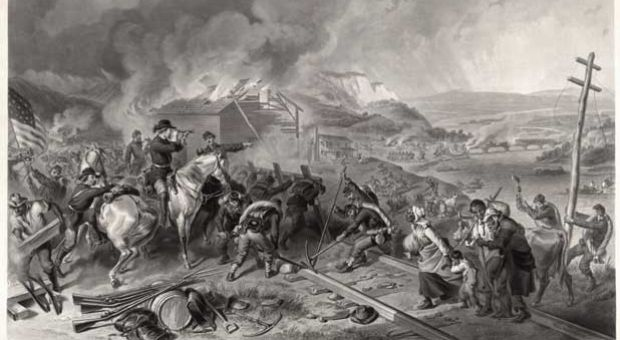 Engraving depicting Gen. William Tecumseh Sherman's march through Georgia to the sea.