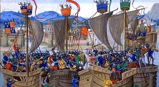 """An illustration of the Battle of Sluys from Jean Froissart's """"Chronicles."""""""