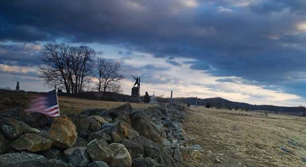 """Remains of the stone wall at the """"Angle"""", the point of the southern attack on July 3, 1863."""