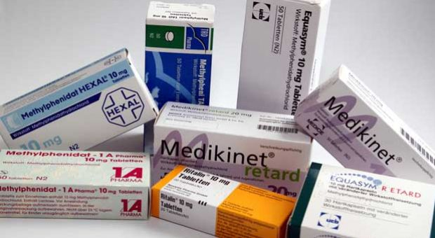 Methylphenidate packages from several German generic drug manufacturers.