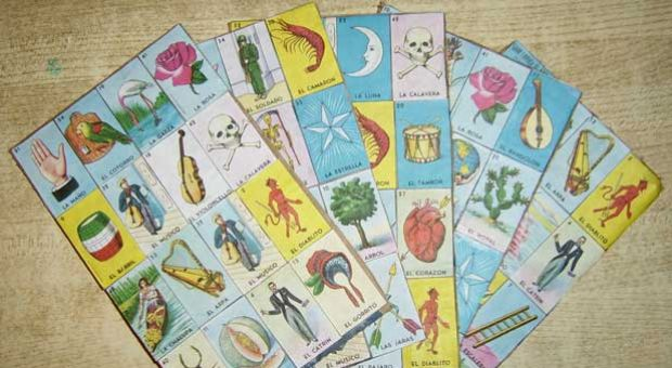 "Home-made Lotería boards (Spanish: ""Tablas de Lotería""). Lotería is a traditional Mexican game of chance. Image by Alex Covarrubias."