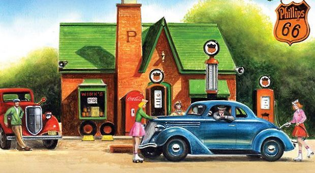 """Cover art from """"The All-Girl Filling Station's Last Reunion: A Novel"""" by Fannie Flagg."""