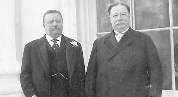 President Theodore Roosevelt standing with William Howard Taft prior to Taft's inauguration in 1909.