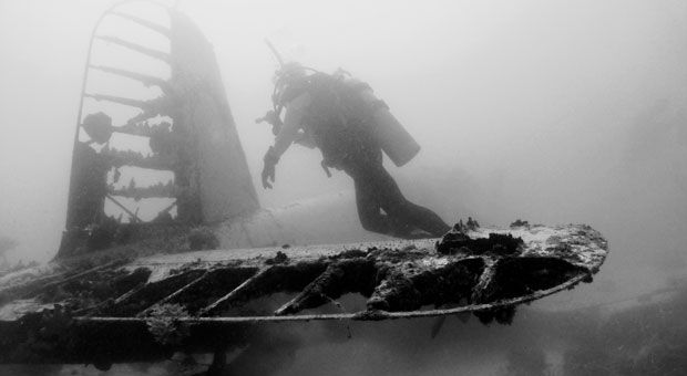 Pat Scannon on a Corsair in Palau.