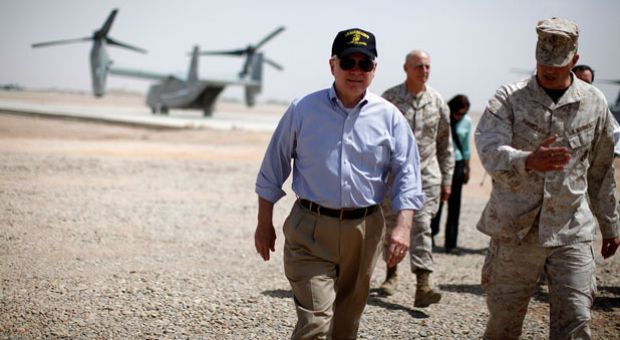 Former U.S. Secretary of Defense Robert Gates walks from an Osprey aircraft after landing at Forward Operating Base Dwyer, June 5, 2011 in Kandahar province, Afghanistan.