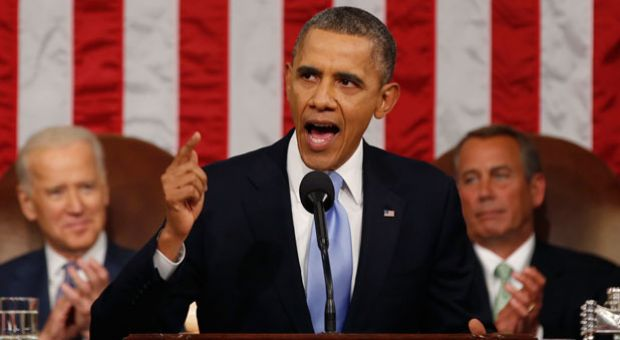 U.S. President Barack Obama delivers his State of the Union speech on Capitol Hill on January 28, 2014 in Washington, D.C. In his fifth State of the Union address, Obama is expected to emphasize on healthcare, economic fairness and new initiatives designed to stimulate the U.S. economy with bipartisan cooperation.