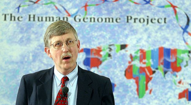 NIH Director Francis Collins, then-director of the U.S. National Human Genome Research Institute, announces that a six-country consortium has successfully drawn up a complete map of the human genome, completing one of the most ambitious scientific projects ever and offering a major opportunity for medical advances, April 14, 2003, at a press conference at the National Institute of Health in Bethesda, Md.