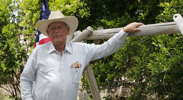 MESQUITE, NV - APRIL 11: Rancher Cliven Bundy poses for a photo outside his ranch house on April 11, 2014 west of Mesquite, Nevada. Bureau of Land Management officials are rounding up Cliven Bundy's cattle, he has been locked in a dispute with the BLM for a couple of decades over grazing rights.