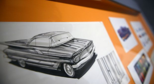 Cars drawings sit on display at 'Pixar, 25 years of Animation' exhibition on November 14, 2013 in Paris, France.