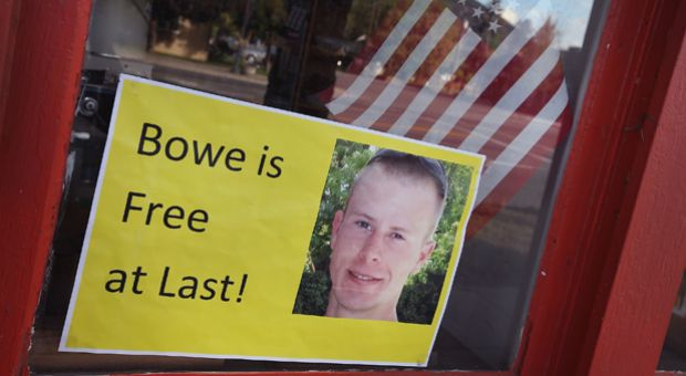 A sign announcing the release of Sgt. Bowe Bergdahl sits in the window of the Hailey Paint and Supply store on Main Street June 1, 2014 in Hailey, Idaho.