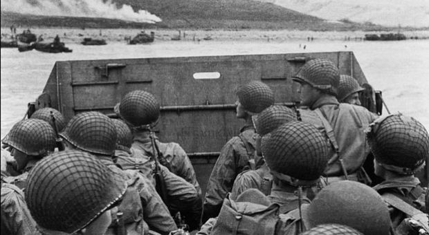 US troops prepare to storm the shore of Normandy on June 6, 1944