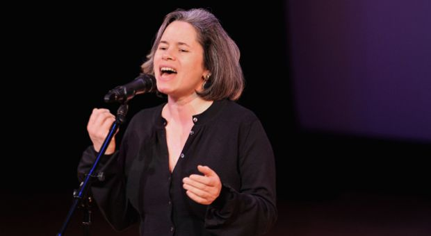 Musician Natalie Merchant performing onstage during the Equality Now 20th Anniversary Fundraiser Event in New York City.