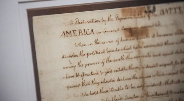 A copy of The Declaration Of Independence is displayed at the New York Public Library in New York City. The copy, which was written by Thomas Jefferson, will be on display through July 3.