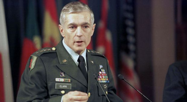 In this handout photo, NATO Supreme Commander General Wesley Clark speaks during a news conference at alliance headquarters March 25, 1999 at NATO Headquarters in Brussels, Belgium.