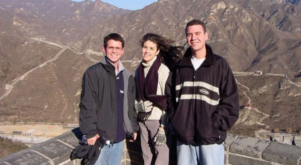 Jeff, Melanie, and Kevin at the Great Wall of China on New Year's 2001. The three Graham children lived together at the University of Kentucky, a testament to the bond between them. This picture is one of the last Mark and Carol have of their children together.
