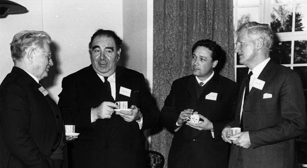 From left to right: Mr Alexei Surkov, the man who tried to ban the book 'Dr Zhivago'; Lord Goodman, Chairman of the Arts Council; V I Koval; and Lord Hunt, leader of the British Everest team, at the first meeting of the Anglo-Soviet committee in 1970 in Surrey.