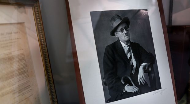 A photograph of Irish writer James Joyce by Berenice Abbott is displayed at the Park Avenue Armory.