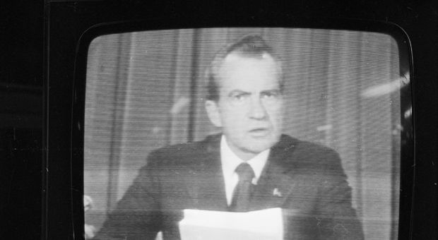 American president Richard Nixon (1913 - 1994) announces his resignation on national television, following the Watergate scandal.