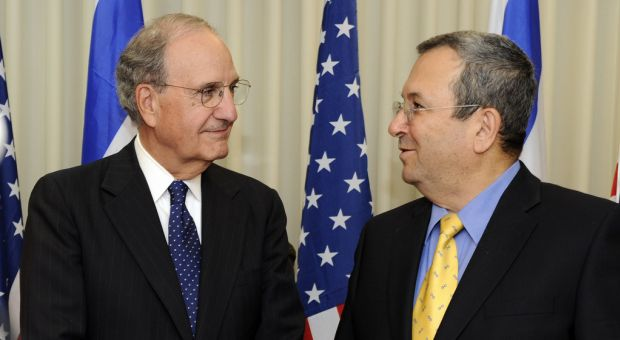 U.S. Special Envoy George Mitchell with Israeli Minister of Defense Ehud Barak before their meeting in Tel Aviv, Israel July 26, 2009.