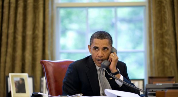 President Barack Obama discusses the response to the BP oil spill, during a phone call with Gulf Coast governors in the Oval Office, May 24, 2010