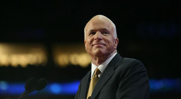 Sen. John McCain (R-AZ) at the 2008 Republican National Convention during his presidential campaign.