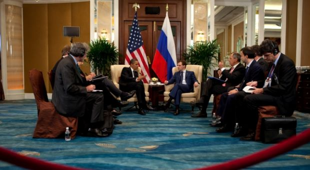 President Barack Obama and Russian President Dmitry Medvedev hold a bilateral meeting during the APEC Summit, at the Shangri-La Hotel in Singapore, November 15, 2009