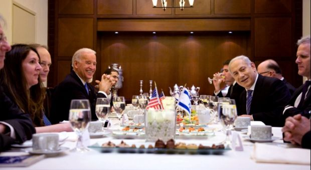 Vice President Joe Biden meets with Israeli Prime Minister Benjamin Netanyahu in Jerusalem, Israel, March 9, 2010.