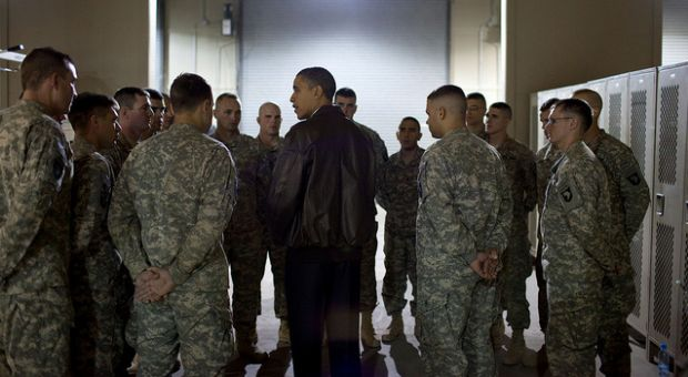 While at Bagram Airfield in Afghanistan, the President met with a platoon who had just lost six members, killed unsuspectedly by an Afghan who had worked alongside them. (December 3, 2010).