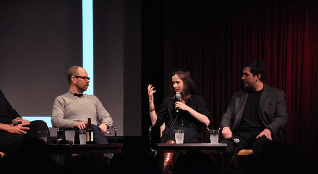 Amanda Hesser, center, talks about the future of food during a New York City event.