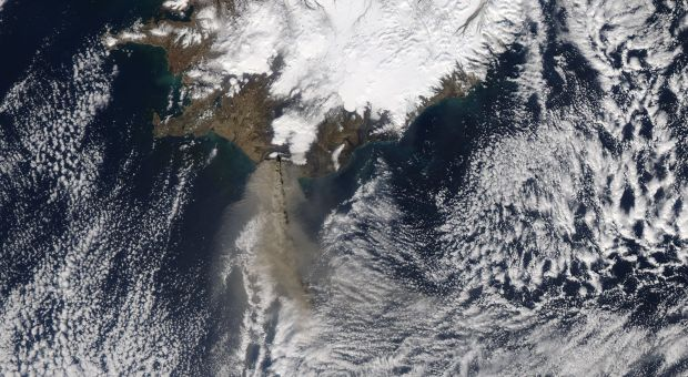 The MODIS instrument on NASA's Aqua satellite captured an Ash plume from Eyjafjallajokull Volcano over the North Atlantic on April 17, 2010