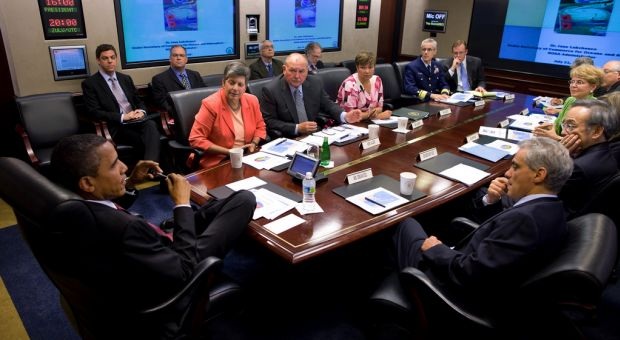 President Barack Obama receives a briefing in the Situation Room of the White House on the BP oil spill in the Gulf of Mexico, July 21, 2010