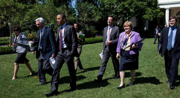 President Barack Obama walks with senior staff in the Rose Garden of the White House, prior to the start of the Economic Daily Briefing, June 17, 2010. Pictured, from left, are Senior Advisor Valerie Jarrett, Jared Bernstein, deputy assistant to the President for economic policy, Council of Economic Advisers member Cecilia Rouse, Peter Orszag, director of the Office of Management and Budget, Christy Romer, director of the Council of Economic Advisers, and Jason Furman, deputy assistant to the President for economic policy.