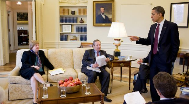 President Barack Obama gestures during a meeting with his economic team, including from left, Counsel of Economic Advisors Chair Christy Romer, National Economic Council Director Larry Summers, and Treasury Secretary Timothy Geithner, in the Oval Office, March 5, 2010