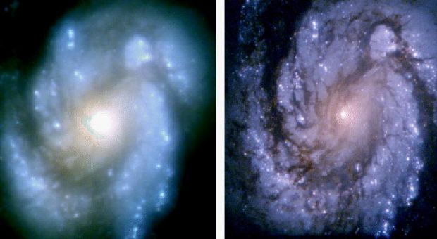 Images of Spiral Galaxy M100 before and after Hubble's first servicing mission