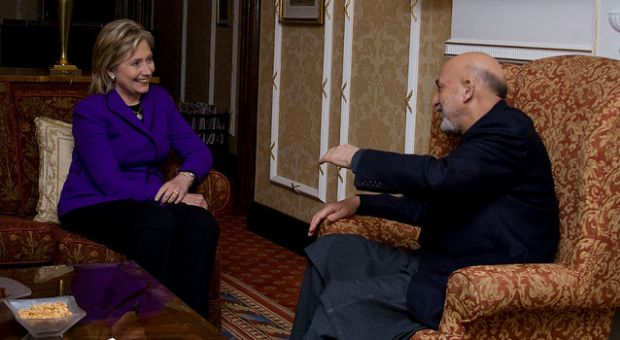 Secretary of State Hillary Clinton meets with Afghan President Hamid Karzai in London earlier this year.