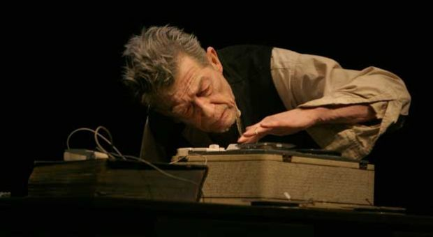 "John Hurt in ""Krapp's Last Tape."""