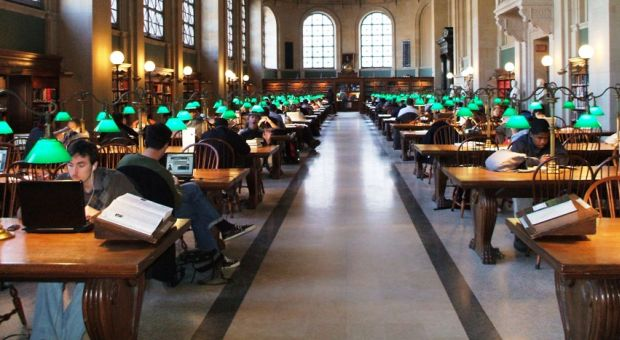 The Bates Hall reading room at the Central Library of Boston Public Library.