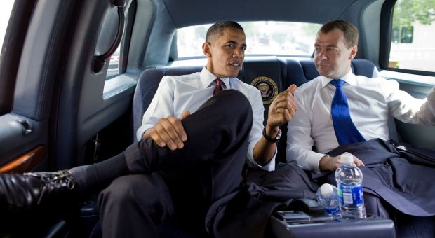 President Barack Obama and President Dmitry Medvedev of Russia ride together to lunch at Ray's Hell Burger in Arlington, Va., June 24, 2010.