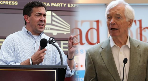 From left, Republican candidate for U.S. Senate Mississippi State Sen. Chris McDaniel and U.S. Sen. Thad Cochran (R-MS) are pictured at June 22 campaign rallies. Both candidates were preparing for a June 24 runoff.