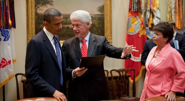 President Barack Obama talks with former President Bill Clinton and Senior Advisor Valerie Jarrett in the Roosevelt Room of the White House, July 14, 2010. The President was meeting with business leaders to discuss new ways to create jobs and strengthen the partnership between the public and private sectors to make new investments in the clean energy industry.