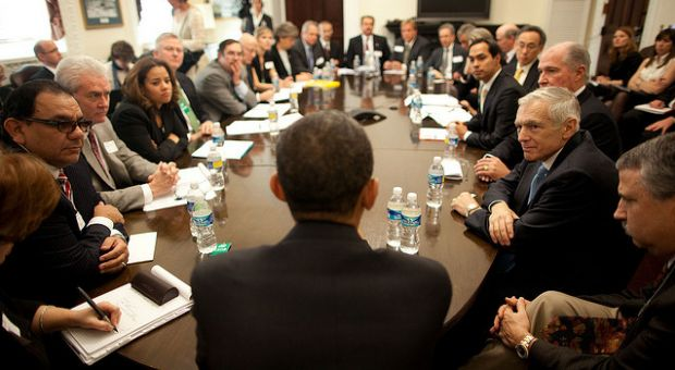 "President Barack Obama attends a breakout session, ""Creating Jobs Through the Rebuilding of America's Infrastructure,"" during the White House Forum on Jobs and Economic Growth, in the Eisenhower Executive Office Building, Dec. 3, 2009"