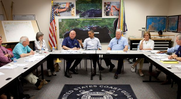 President Barack Obama gestures during a briefing about the ongoing response to the BP oil spill, at the Gulfport Coast Guard Station in Gulfport, Miss., in June 2010