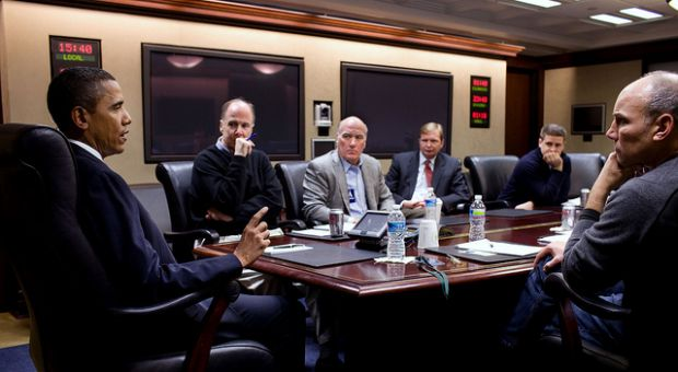 President Barack Obama takes part in a conference call in the Situation Room of the White House concerning the shooting of Rep. Gabrielle Giffords and others in Tucson, Az., Saturday, Jan. 8, 2011. Pictured, left to right, National Security Advisor Tom Donilon, incoming Chief of Staff Bill Daley, Deputy Chief of Staff Jim Messina, Director of Communications Dan Pfeiffer, and Assistant to the President for Legislative Affairs Phil Schiliro. Also taking part in the call were Attorney General Eric H. Holder, Jr., Homeland Security Secretary Janet Napolitano, and FBI Director Robert Mueller.