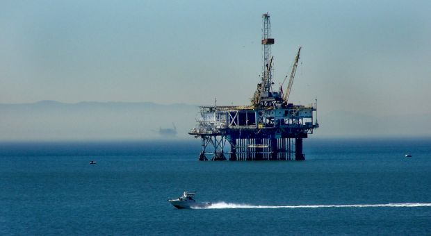 Off-shore oil rig drilling in Santa Catalina Channel